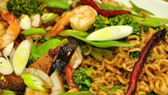 Stir Frys include Chicken, Steak, Shrimp, & Vegetable.